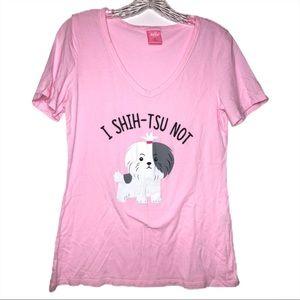 I Shih-tsu Not cute dog shihtzu vneck t-shirt sz M